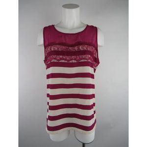 Gibson S Floral Lace Sleeveless Striped Blouse